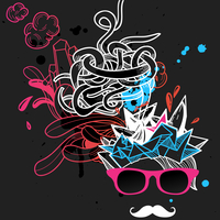 vector illustration of an abstract man in pink glasses with white mustache