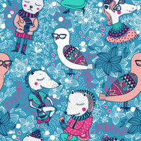 vector  seamless pattern with funny animals on a floral background 60016017834  写真素材・ストックフォト・画像・イラスト素材 アマナイメージズ