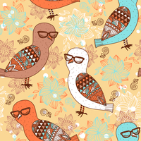 vector seamless pattern with colorful owls on a floral background 60016017860  写真素材・ストックフォト・画像・イラスト素材 アマナイメージズ