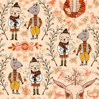 vector seamless pattern with cartoon animals