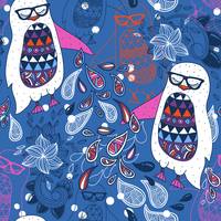vector  seamless pattern with fantasy penguins