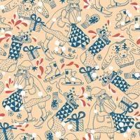 Christmas vector seamless pattern with skiing  Santa 60016018034| 写真素材・ストックフォト・画像・イラスト素材|アマナイメージズ