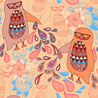 vector seamless pattern with colorful penguins on a floral background