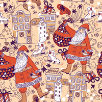 Christmas vector seamless pattern with Santa, gifts and decorated houses 60016018099| 写真素材・ストックフォト・画像・イラスト素材|アマナイメージズ