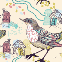 vector seamless pattern with birds and abstract houses 60016018132| 写真素材・ストックフォト・画像・イラスト素材|アマナイメージズ