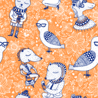 vector seamless pattern with funny animals on a floral background 60016018163  写真素材・ストックフォト・画像・イラスト素材 アマナイメージズ