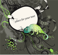 vector frame with a bright lizard, bugs and a motley spider on  an abstract floral background