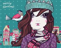 Christmas vector illustration of a pretty girl  in winter cloth and  a  little bird 60016018220| 写真素材・ストックフォト・画像・イラスト素材|アマナイメージズ