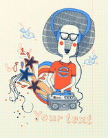 vector illustration of a funny cartoon lion listening disco music 60016018407| 写真素材・ストックフォト・画像・イラスト素材|アマナイメージズ