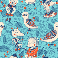 vector seamless pattern with colored cartoon animals 60016018439  写真素材・ストックフォト・画像・イラスト素材 アマナイメージズ