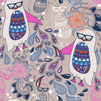 vector seamless pattern with colored penguins