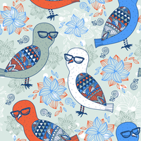 vector floral seamless pattern with colorful owls