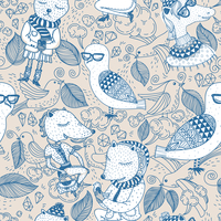 vector  seamless pattern with funny animals