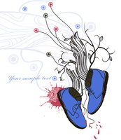 hand drawn background with fantasy blue boots and  abstract wings and plants 60016018980| 写真素材・ストックフォト・画像・イラスト素材|アマナイメージズ