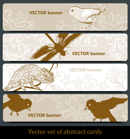 vector set of  hand-drawn banners with birds and animals