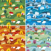 Seamless patterns with 4 seasons 60016019600| 写真素材・ストックフォト・画像・イラスト素材|アマナイメージズ