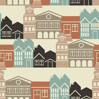 Vector seamless pattern with houses and buildings 60016019732| 写真素材・ストックフォト・画像・イラスト素材|アマナイメージズ