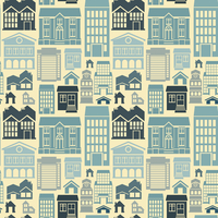 Vector seamless pattern with houses and buildings 60016020167| 写真素材・ストックフォト・画像・イラスト素材|アマナイメージズ