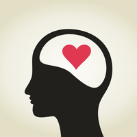 Heart in a head to the man. A vector illustration