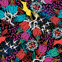 vector floral seamless pattern with abstract plants an colored animals