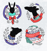 vector set of vintage silhouettes