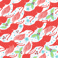 Christmas vector seamless pattern with running foxes