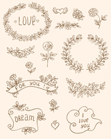 Set of romantic doodle elements for design