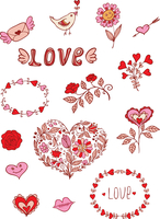 Set of floral romantic doodle elements for design