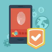 Vector mobile phone security - concept with icons in flat style - data protection and user identification 60016021002| 写真素材・ストックフォト・画像・イラスト素材|アマナイメージズ