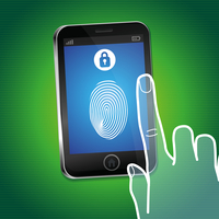 Vector security concept - hand and mobile phone with touchscreen and fingerprint on it - user identification and data protection 60016021005| 写真素材・ストックフォト・画像・イラスト素材|アマナイメージズ