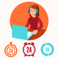 Customer support operator - vector character in flat style. Woman with phone headset smiling  and working at her laptop 60016021050| 写真素材・ストックフォト・画像・イラスト素材|アマナイメージズ