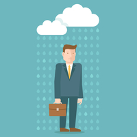 Vector bad day concept in flat style - businessman under the rain cloud - depressed and tired