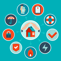 Vector house insurance concept in flat style - infographic design elements and icons 60016021414| 写真素材・ストックフォト・画像・イラスト素材|アマナイメージズ