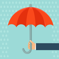 Vector insurance agent holding umbrella - concept in flat style 60016021428| 写真素材・ストックフォト・画像・イラスト素材|アマナイメージズ