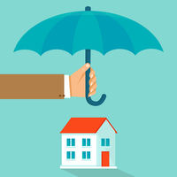 Vector house insurance concept in flat style - infographic design elements and icons - agent's hand holding umbrella over ho 60016021429| 写真素材・ストックフォト・画像・イラスト素材|アマナイメージズ