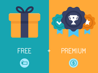 Vector infographics depicting freemium business model - free of charge and free to play apps and games - paying for premium feat