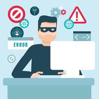 Vector hacker illustration in flat style - password and data thief 60016021484| 写真素材・ストックフォト・画像・イラスト素材|アマナイメージズ