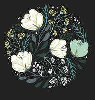 vector floral background with fantasy blooming flowers