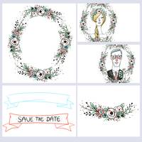 vector set of floral cards with vintage ribbons, portraits and floral elements for a  wedding design