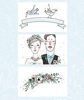 vector set of three cards  for a  wedding design 60016021892| 写真素材・ストックフォト・画像・イラスト素材|アマナイメージズ