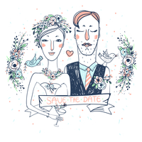 vector wedding illustration of pretty bride and groom with flowers and birds
