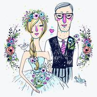 vector wedding illustration of pretty bride and groom  60016021931| 写真素材・ストックフォト・画像・イラスト素材|アマナイメージズ