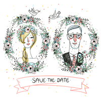vector portraits of lovely newlyweds for a wedding design