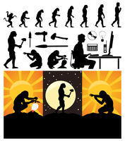 Evolution of the person. Evolution from a monkey to the person. A vector illustration