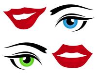 Eye and a lip. Set of icons of a lip and eye. A vector illustration