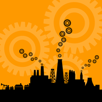 Factory8. Factory against the orange sky. A vector illustration 60016022287| 写真素材・ストックフォト・画像・イラスト素材|アマナイメージズ