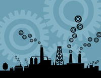 Factory9. Factory against the blue sky. A vector illustration 60016022288| 写真素材・ストックフォト・画像・イラスト素材|アマナイメージズ