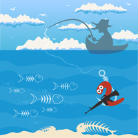 Fishing2. The man by a boat fishes. A vector illustration