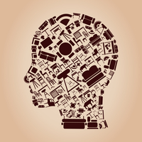Head made of furniture. A vector illustration