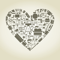 Heart made of furniture. A vector illustration